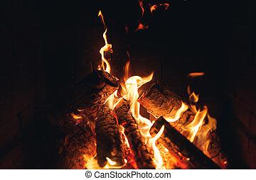 oheň, krb, poleno, hořící