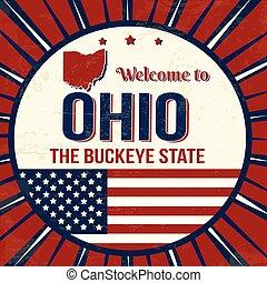 ohio, årgång, välkommen, grunge, affisch