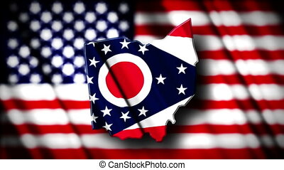 Ohio 03 - Flag of Ohio in the shape of Ohio state with the...