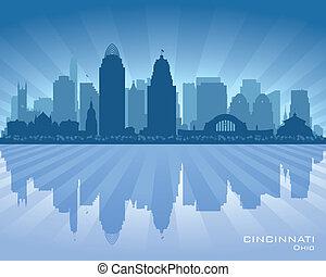 ohio, cincinnati, orizzonte, vettore, città, silhouette