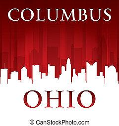 ohio, columbus, hintergrund, skyline, stadt, rotes , silhouette