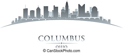 ohio, columbus, hintergrund, skyline, stadt, silhouette, weißes
