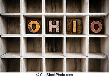Ohio Concept Wooden Letterpress Type in Drawer - The word...