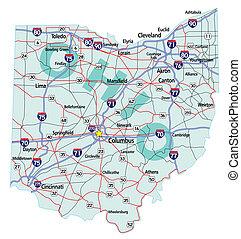 ohio, estado, interestatal, mapa