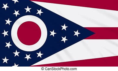 Ohio flag flutters in the wind, loop for background.