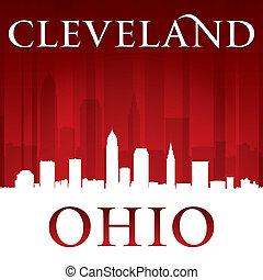 ohio, fondo, cleveland, orizzonte, città, rosso, silhouette