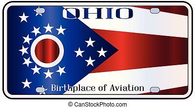 Ohio License Plate Flag - Ohio state license plate in the...
