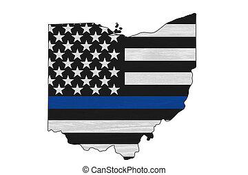 ohio, magro, americano, linea, mappa, bandiera, blu