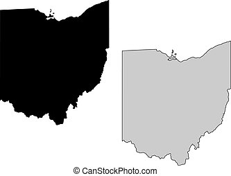 ohio, map., negro y, white., mercator, projection.