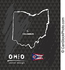 Ohio map, vector pen drawing on black background