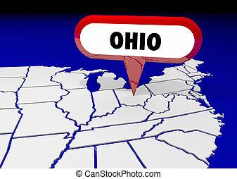 ohio, oh, carte état, épingle, emplacement, destination, 3d, illustration