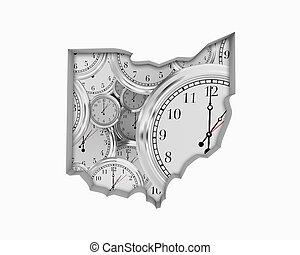 Ohio OH Clock Time Passing Forward Future 3d Illustration