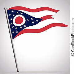 ohio oh state flag flying waving on flagpole vector
