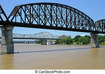 Ohio River Bridges - Three bridges spanning the Ohio River...