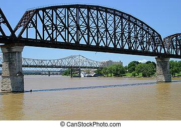Ohio River Bridges - Three bridges spanning the Ohio River...
