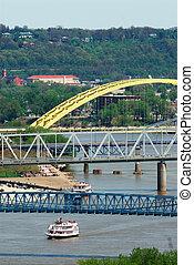 Ohio River Cincinnati USA - Aerial view of river boats on...
