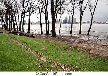 Ohio River Riverbanks Overflowing Louisville Kentucky...