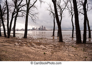 Ohio River Riverbanks Overflowing Louisville Kentucky...
