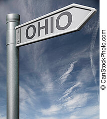 Ohio road sign usa states clipping path