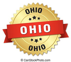 Ohio round golden badge with red ribbon