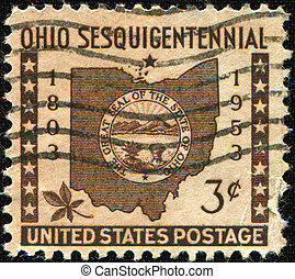 Ohio Sesquicentennial - USA - CIRCA 1953: A stamp printed by...