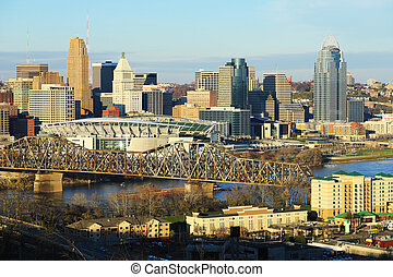 ohio, skyline, cincinnati, aanzicht