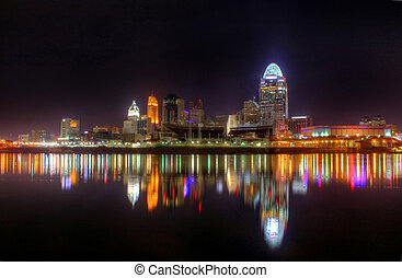 ohio, skyline, cincinnati, nacht