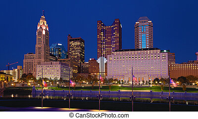 ohio, skyline, columbus, nacht