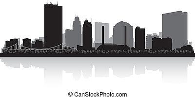 ohio, skyline, toledo, silhouette, stadt