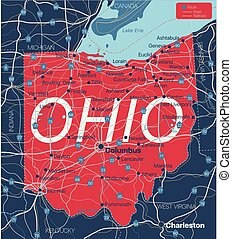 Ohio state detailed editable map