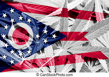 Ohio State Flag on cannabis background. Drug policy. ...
