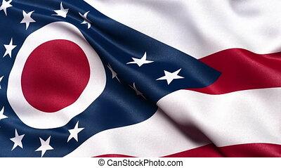 Ohio state flag seamless loop - Realistic Ohio state flag...