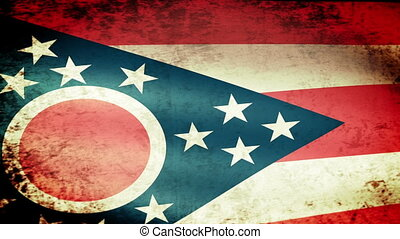Ohio State Flag Waving, grunge look