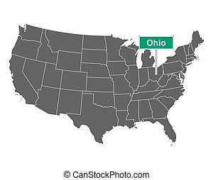 Ohio state limit sign and map of USA