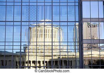 ohio, statehouse, reflexión