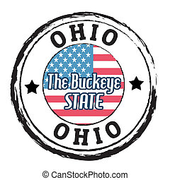 Ohio, The Buckeye State stamp - Grunge rubber stamp with...