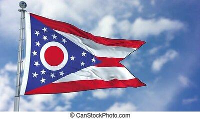 Ohio Waving Flag - Ohio (U.S. state) flag waving against...