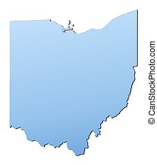 Ohio(USA) map filled with light blue gradient. High...