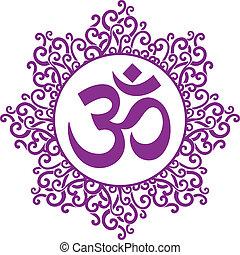 ohm decorative - vector indian spiritual sign ohm
