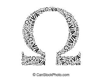 ohm, elektrisk, formel, text, på, ohm, symbol, grafisk, och,...