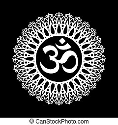 Ohm Sign - Om Symbol, Aum Sign, with Decorative Indian...