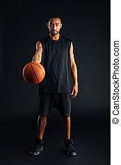 ohnisko, mládě, afričan, basketball player, daný, koule