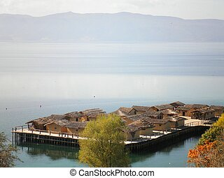 Ohrid Lake Macedonia - Beautiful Ohrid lake nature village,...