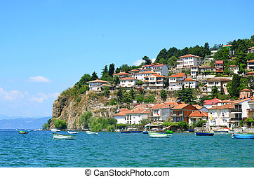Ohrid lake, Macedonia - Ohrid lake and an old town of Ohrid...