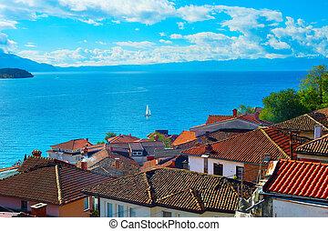 Ohrid lake, Macedonia - Sailboat on a lake Ohrid. Old town ...