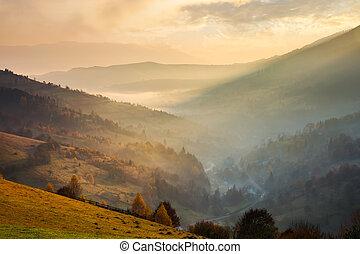 ohromení, nadšený, východ slunce, do, hory