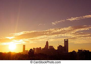 ohromení, východ slunce, nad, karla, north carolina