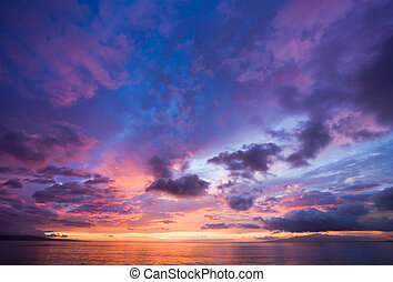 ohromení, západ slunce, do, havaj