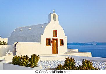 (oia), église, santorini, grèce