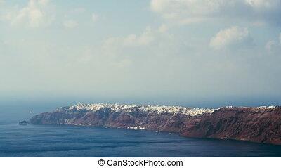 oia, îles, santorini, village, grec